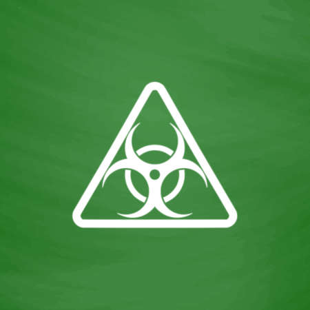 Biohazard. Flat Icon. Imitation draw with white chalk on green chalkboard. Flat Pictogram and School board background. Vector illustration symbol Illustration