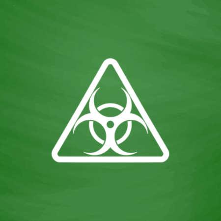 riesgo biologico: Biohazard. Icono plana. Imitación dibujar con tiza blanca en la pizarra verde. Pictograma plano y fondo de la tarjeta de la escuela. ilustración vectorial símbolo Vectores