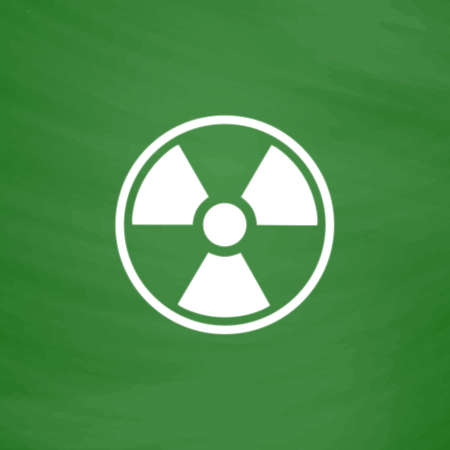 Radiation Flat Icon. Imitation draw with white chalk on green chalkboard. Flat Pictogram and School board background. Vector illustration symbol Illustration