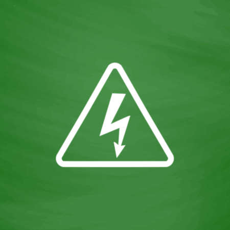 volte: High voltage Flat Icon. Imitation draw with white chalk on green chalkboard. Flat Pictogram and School board background. Vector illustration symbol