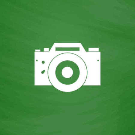 Digital photo camera Flat Icon. Imitation draw with white chalk on green chalkboard. Flat Pictogram and School board background. Vector illustration symbol