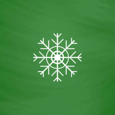 lightweight ornaments: Snowflake. Flat Icon. Imitation draw with white chalk on green chalkboard. Flat Pictogram and School board background. Vector illustration symbol
