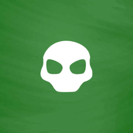 space invader: Alien Head. Flat Icon. Imitation draw with white chalk on green chalkboard. Flat Pictogram and School board background. Vector illustration symbol