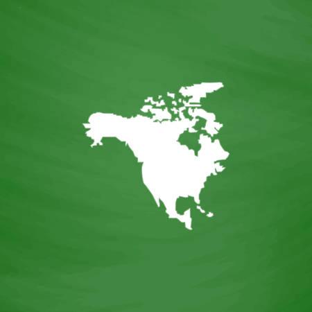 Mapa Norte América. Icono plana. Imitación dibujar con tiza blanca en la pizarra verde. Pictograma plano y fondo de la tarjeta de la escuela. ilustración vectorial símbolo