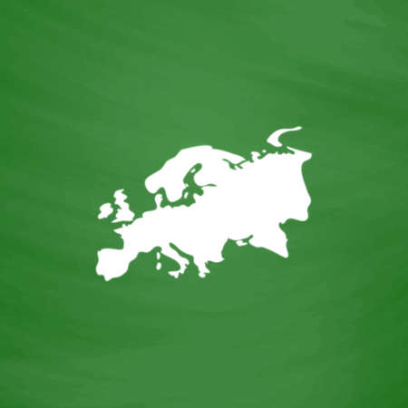 Eurasia map. Flat Icon. Imitation draw with white chalk on green chalkboard. Flat Pictogram and School board background. Vector illustration symbol