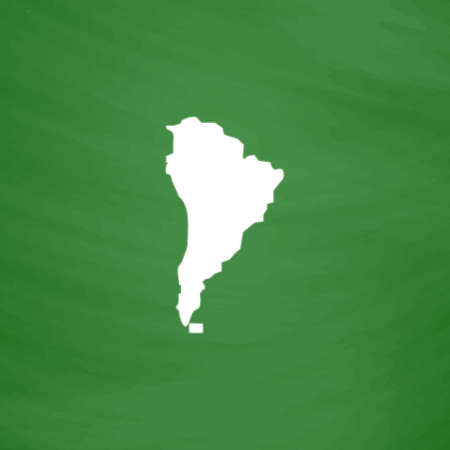 latin americans: South america map. Flat Icon. Imitation draw with white chalk on green chalkboard. Flat Pictogram and School board background. Vector illustration symbol