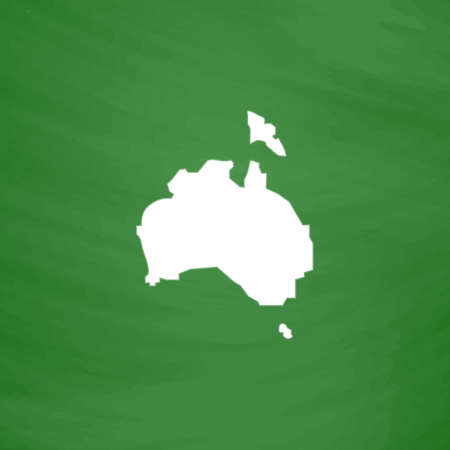 Australia map. Flat Icon. Imitation draw with white chalk on green chalkboard. Flat Pictogram and School board background. Vector illustration symbol