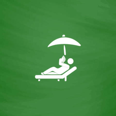 Relax under an umbrella on a lounger. Flat Icon. Imitation draw with white chalk on green chalkboard. Flat Pictogram and School board background. Vector illustration symbol Illustration