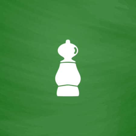 cross match: Chess pawn. Flat Icon. Imitation draw with white chalk on green chalkboard. Flat Pictogram and School board background. Vector illustration symbol Illustration