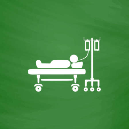 hospitalization: Life hospitalized. Flat Icon. Imitation draw with white chalk on green chalkboard. Flat Pictogram and School board background. Vector illustration symbol Illustration