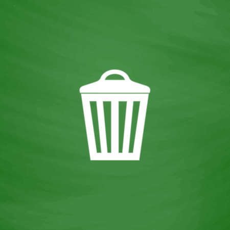 scrapyard: Trash can. Flat Icon. Imitation draw with white chalk on green chalkboard. Flat Pictogram and School board background. Vector illustration symbol