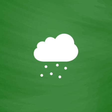 hail: Cloud with hail. Flat Icon. Imitation draw with white chalk on green chalkboard. Flat Pictogram and School board background. Vector illustration symbol