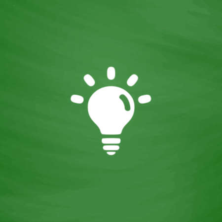 fluorescent lights: Bulb. Flat Icon. Imitation draw with white chalk on green chalkboard. Flat Pictogram and School board background. Vector illustration symbol Illustration