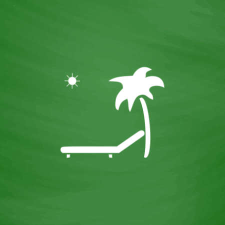 recliner: Tropical resort beach. Sunbed Chair. Flat Icon. Imitation draw with white chalk on green chalkboard. Flat Pictogram and School board background. Vector illustration symbol