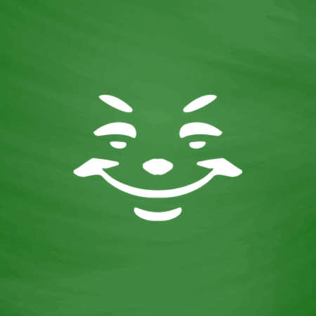Universal smiling icon, freehand drawing. Flat Icon. Imitation draw with white chalk on green chalkboard. Flat Pictogram and School board background. Vector illustration symbol Illustration