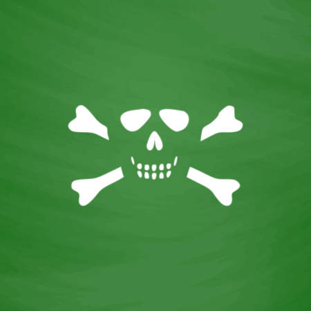 Cartoon skull with bones. Flat Icon. Imitation draw with white chalk on green chalkboard. Flat Pictogram and School board background. Vector illustration symbol