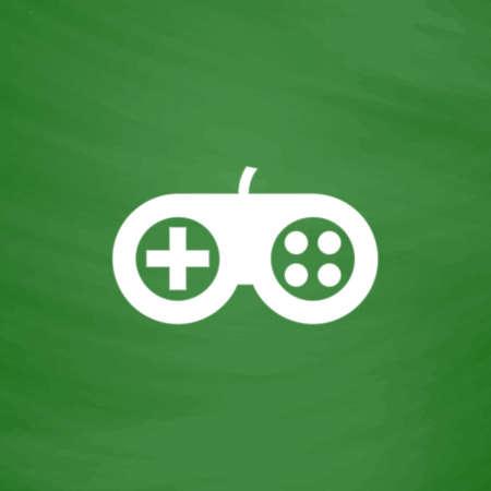 Joystick. Flat Icon. Imitation draw with white chalk on green chalkboard. Flat Pictogram and School board background. Vector illustration symbol