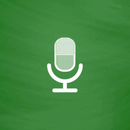 Retro microphone. Flat Icon. Imitation draw with white chalk on green chalkboard. Flat Pictogram and School board background. Vector illustration symbol Illustration
