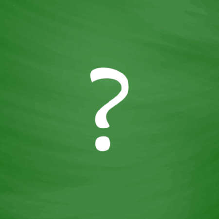 Question mark. Flat Icon. Imitation draw with white chalk on green chalkboard. Flat Pictogram and School board background. Vector illustration symbol