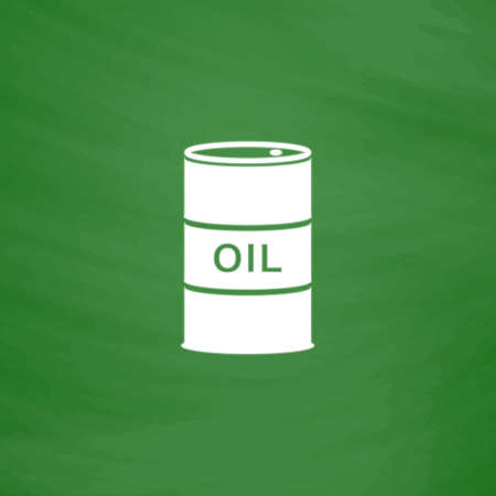barel: Barrels of oil. Flat Icon. Imitation draw with white chalk on green chalkboard. Flat Pictogram and School board background. Vector illustration symbol