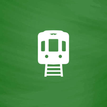 locomotion: Train subway. Flat Icon. Imitation draw with white chalk on green chalkboard. Flat Pictogram and School board background. Vector illustration symbol