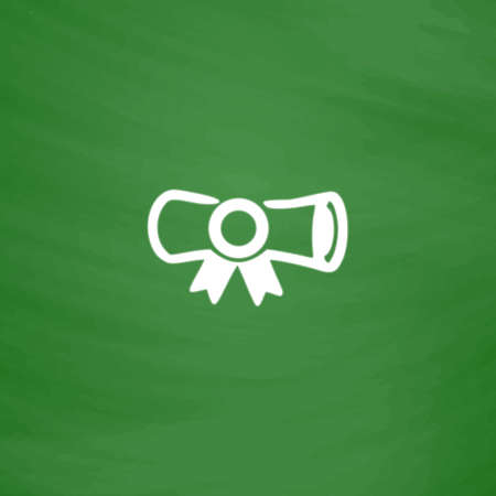 deed: Diploma. Flat Icon. Imitation draw with white chalk on green chalkboard. Flat Pictogram and School board background. Vector illustration symbol Illustration