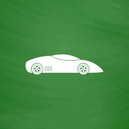Silhouette of sport car for racing sports. Flat Icon. Imitation draw with white chalk on green chalkboard. Flat Pictogram and School board background. Vector illustration symbol