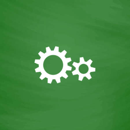 Two gears. Flat Icon. Imitation draw with white chalk on green chalkboard. Flat Pictogram and School board background. Vector illustration symbol