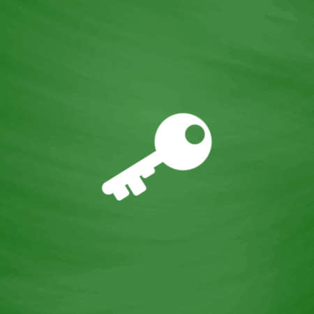 Old key silhouette. Flat Icon. Imitation draw with white chalk on green chalkboard. Flat Pictogram and School board background. Vector illustration symbol