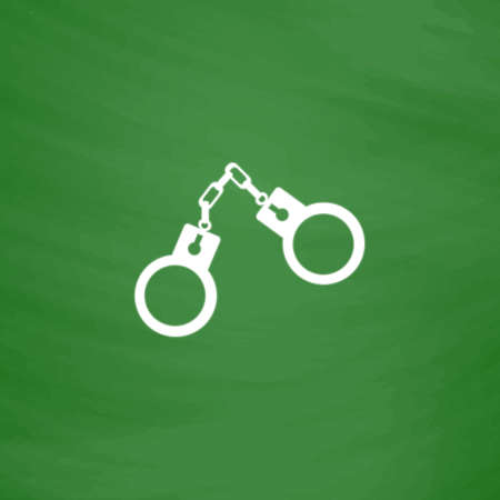 Handcuffs. Flat Icon. Imitation draw with white chalk on green chalkboard. Flat Pictogram and School board background. Vector illustration symbol