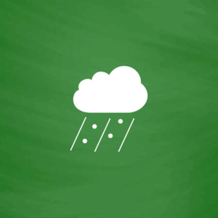 Cloud it is raining and hail. Flat Icon. Imitation draw with white chalk on green chalkboard. Flat Pictogram and School board background. Vector illustration symbol Illusztráció