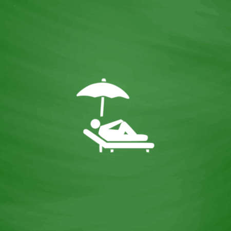 woman lying down: Simple Relax under an umbrella on a lounger. Flat Icon. Imitation draw with white chalk on green chalkboard. Flat Pictogram and School board background. Vector illustration symbol