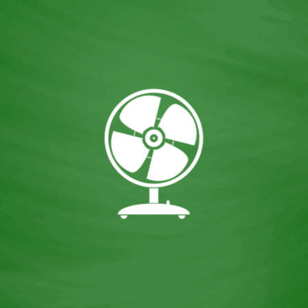 heatwave: Table fan. Flat Icon. Imitation draw with white chalk on green chalkboard. Flat Pictogram and School board background. Vector illustration symbol Illustration
