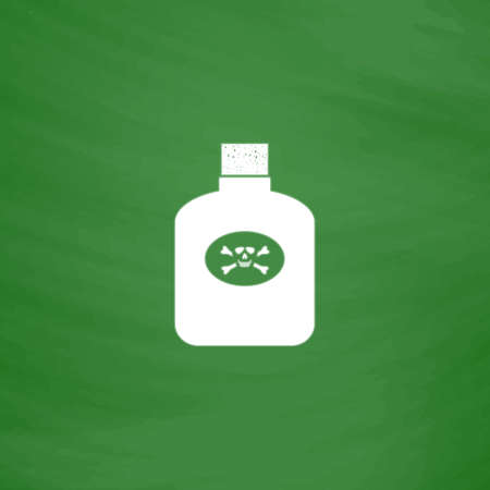 poison symbol: Bottle of poison. Flat Icon. Imitation draw with white chalk on green chalkboard. Flat Pictogram and School board background. Vector illustration symbol Illustration
