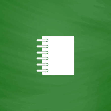 sketchpad: Ring binder calendar notepad. Flat Icon. Imitation draw with white chalk on green chalkboard. Flat Pictogram and School board background. Vector illustration symbol