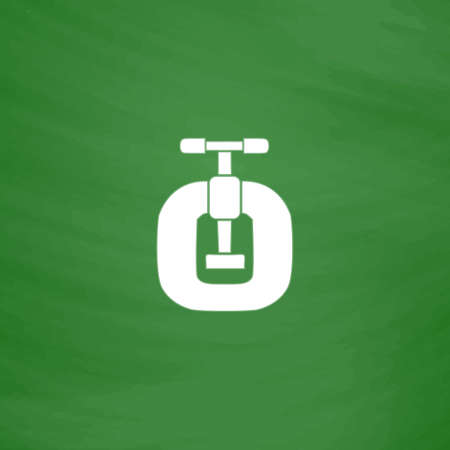 vices: Bench vices. Flat Icon. Imitation draw with white chalk on green chalkboard. Flat Pictogram and School board background. Vector illustration symbol Illustration