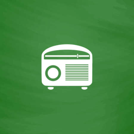 retro revival: Retro revival radios tuner. Flat Icon. Imitation draw with white chalk on green chalkboard. Flat Pictogram and School board background. Vector illustration symbol