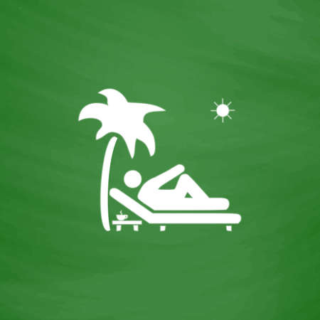 palm reading: Man relaxing on a deck chair under palm tree and standing table with a cup of coffee. Flat Icon. Imitation draw with white chalk on green chalkboard. Flat Pictogram and School board background. Vector illustration symbol
