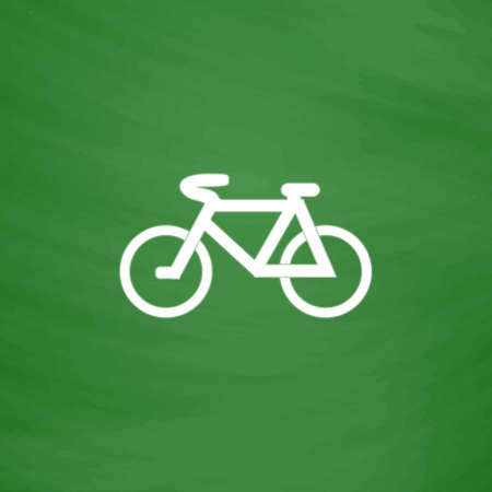 Mountain bike. Flat Icon. Imitation draw with white chalk on green chalkboard. Flat Pictogram and School board background. Vector illustration symbol Illustration