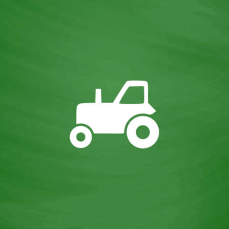 Tractor. Flat Icon. Imitation draw with white chalk on green chalkboard. Flat Pictogram and School board background. Vector illustration symbol Illustration