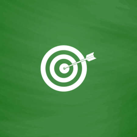 A dart is in the center of a dartboard. Target concept. Flat Icon. Imitation draw with white chalk on green chalkboard. Flat Pictogram and School board background. Vector illustration symbol Illustration