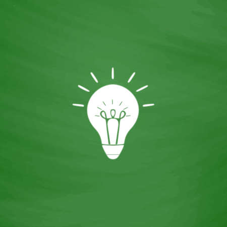 Light bulb. Flat Icon. Imitation draw with white chalk on green chalkboard. Flat Pictogram and School board background. Vector illustration symbol