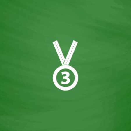 accomplishment: Bronze medal with ribbon. third prize, award accomplishment. 3nd place. Flat Icon. Imitation draw with white chalk on green chalkboard. Flat Pictogram and School board background. Vector illustration symbol