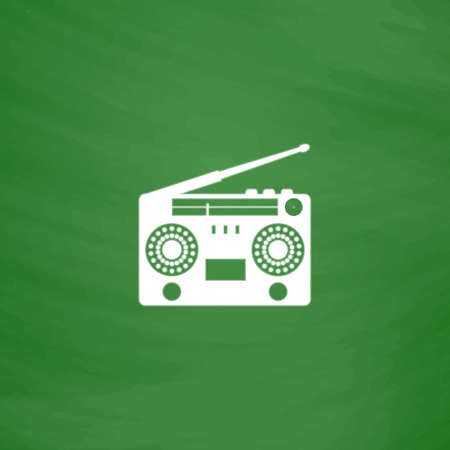 boombox: Classic 80s boombox. Flat Icon. Imitation draw with white chalk on green chalkboard. Flat Pictogram and School board background. Vector illustration symbol