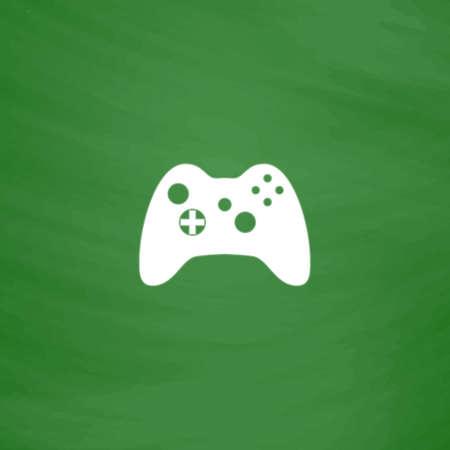 joypad: Gamepad. Flat Icon. Imitation draw with white chalk on green chalkboard. Flat Pictogram and School board background. Vector illustration symbol
