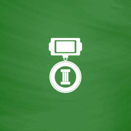 orden: Medals 3 places. Flat Icon. Imitation draw with white chalk on green chalkboard. Flat Pictogram and School board background. Vector illustration symbol Illustration