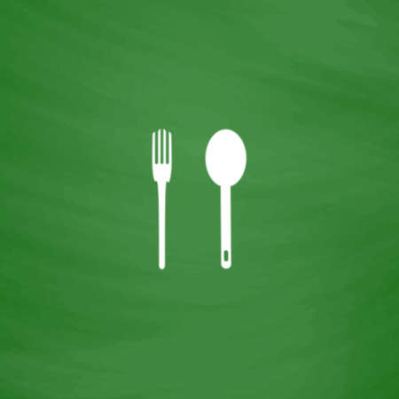 Simple fork and spoon. Flat Icon. Imitation draw with white chalk on green chalkboard. Flat Pictogram and School board background. Vector illustration symbol Illustration