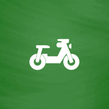 icon series: Scooter. Flat Icon. Imitation draw with white chalk on green chalkboard. Flat Pictogram and School board background. Vector illustration symbol