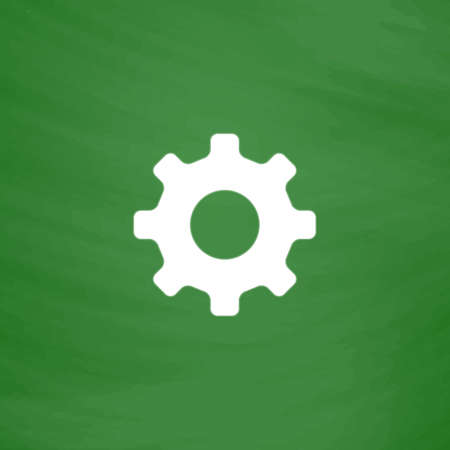 lite: Gear hours. Flat Icon. Imitation draw with white chalk on green chalkboard. Flat Pictogram and School board background. Vector illustration symbol