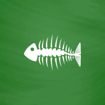 fishbone: Fishbone. Flat Icon. Imitation draw with white chalk on green chalkboard. Flat Pictogram and School board background. Vector illustration symbol